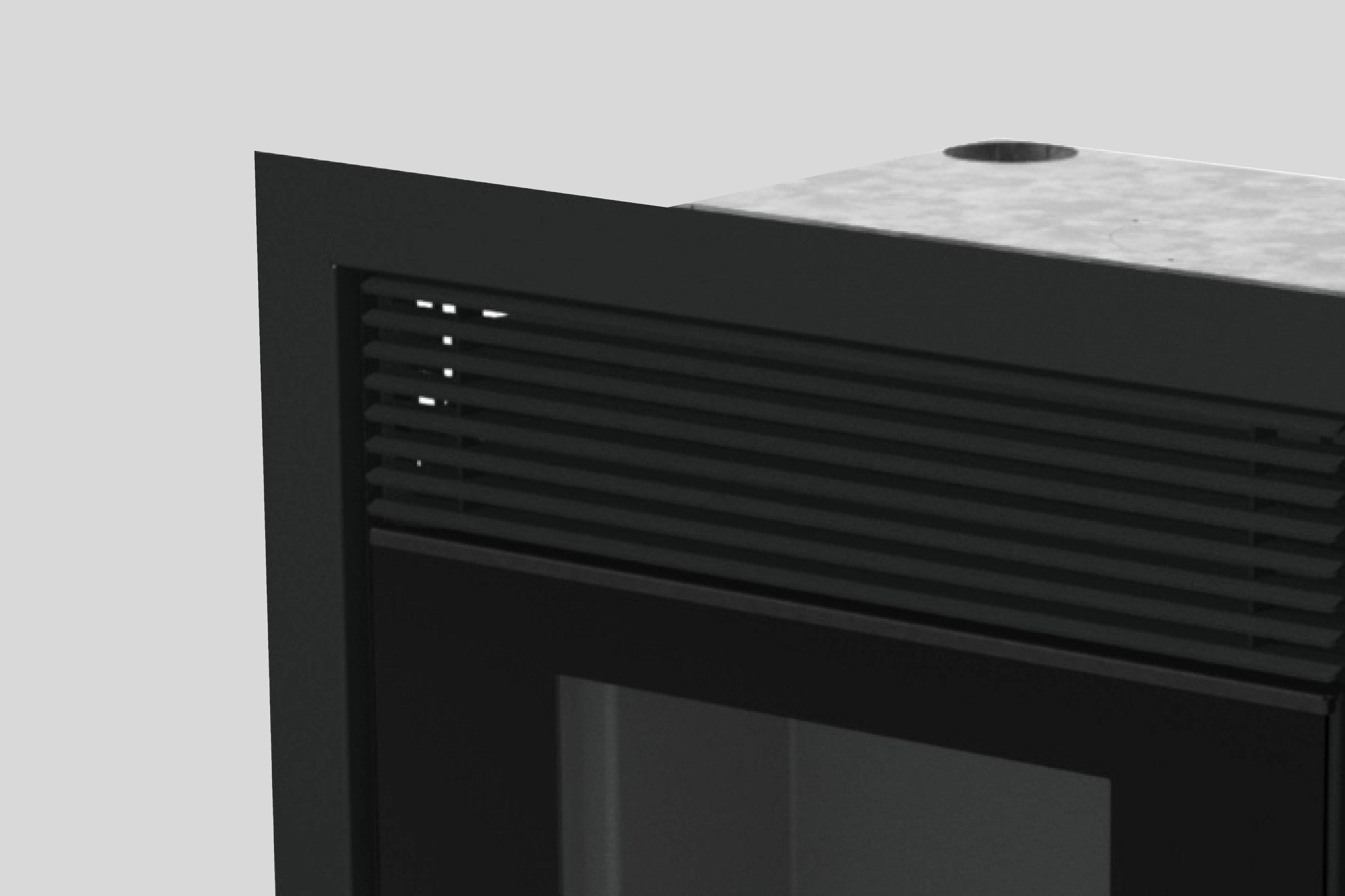 Pormenor da parte superior do recuperador de calor a pellets, Aquatek P Vision.