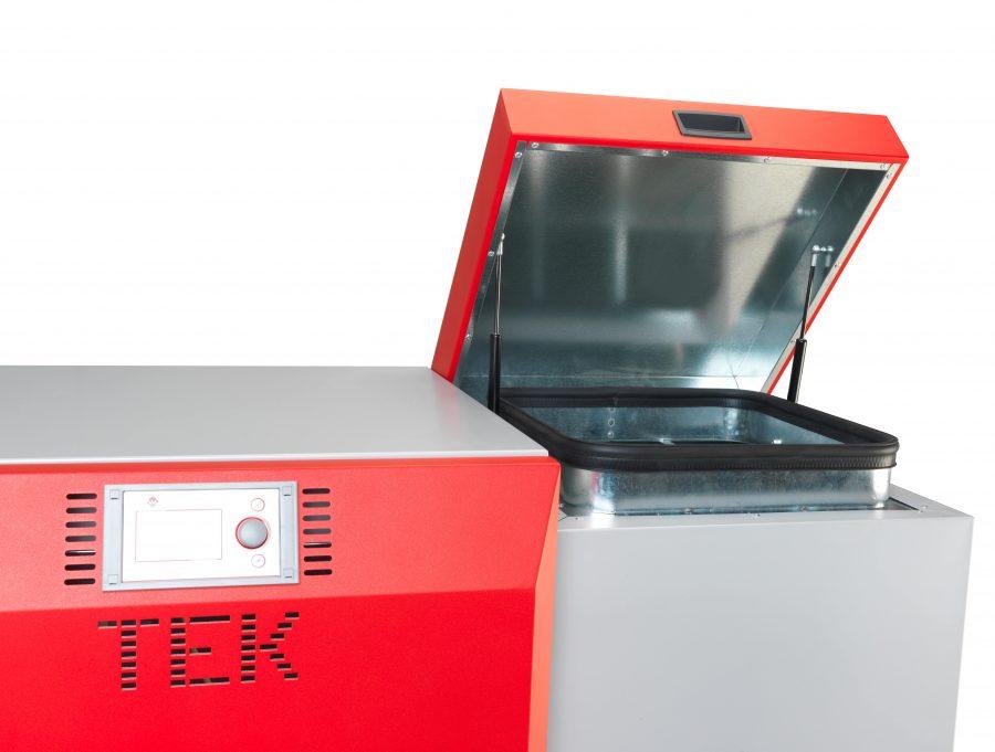 Pormenor da caldeira a pellets Biomasse P