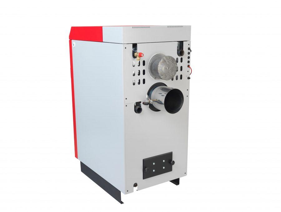 Pormenor traseiro da caldeira a lenha para instalações aquecimento central Biomasse W