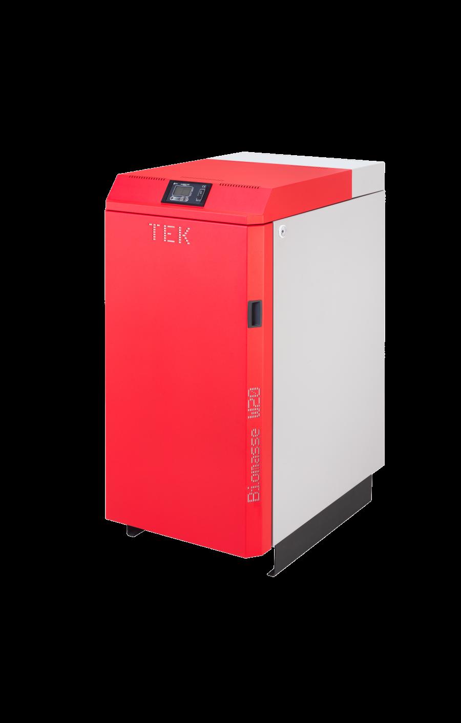 Biomasse W - caldeira a lenha de cor vermelha da TEK Biomasse.