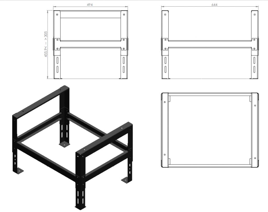 Base de assentamento de cor preta+desenhos técnicos