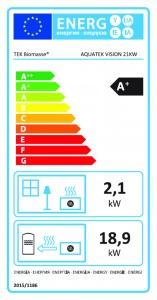 Etiqueta do recuperador de calor a pellets Aquatek P Vision