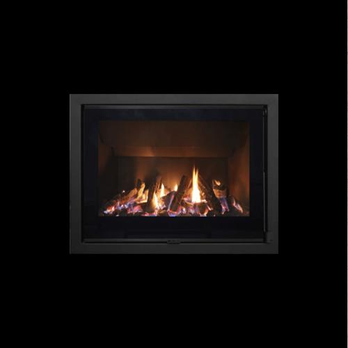 Recuperador de calor com vidro serigrafado para aquecimento central a lenha